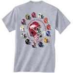 New World Graphics Men's University of Arkansas Helmets T-shirt