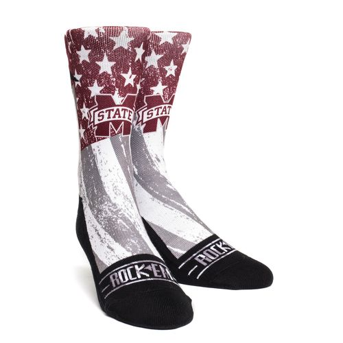 Rock 'Em Apparel Men's Mississippi State University Stars and Stripes Socks