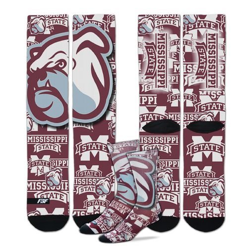 FBF Originals Men's Mississippi State University Mascot Montage Sublimated Socks