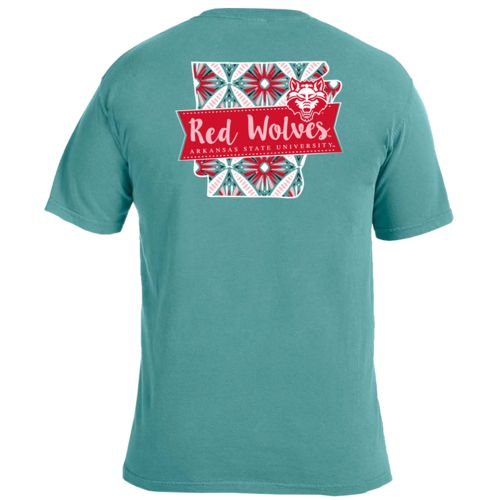 Image One Women's Arkansas State University Pattern Scroll State T-shirt