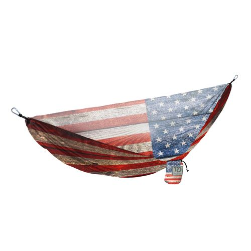 Twisted Root Design Twisted Print USA Wood Flag Hammock