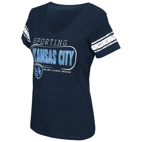 G-III for Her Women's Sporting Kansas City First Pick Striped V-neck T-shirt