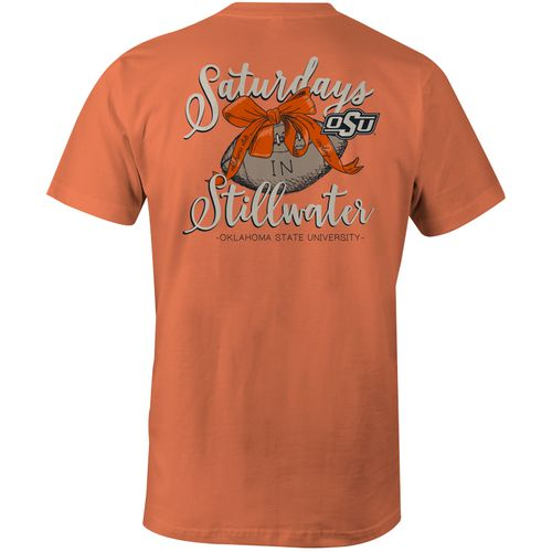 Image One Women's Oklahoma State University Laces and Bows Comfort Color T-shirt