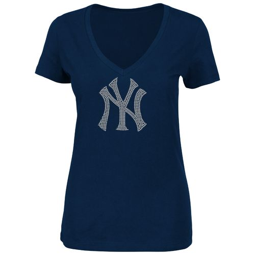 Majestic Women's New York Yankees Dream of Diamonds V-neck T-shirt
