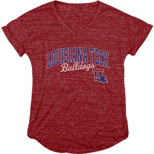 Blue 84 Women's Louisiana Tech University Dark Confetti V-neck T-shirt