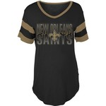 5th & Ocean Clothing Women's New Orleans Saints Sleeve Stripe Fan T-shirt - view number 1