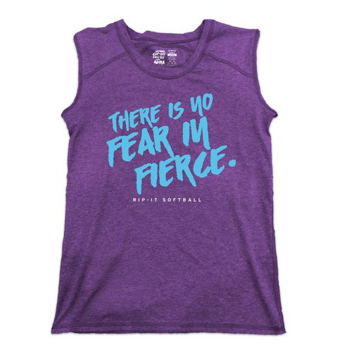 RIP-IT Girls' No Fear in Fierce Cutoff Crew Softball Tank Top