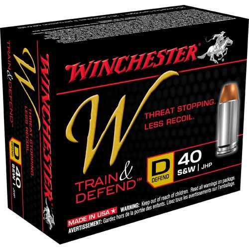 Winchester Train and Defend .40 S&W 180-Grain Centerfire JHP Pistol Ammunition