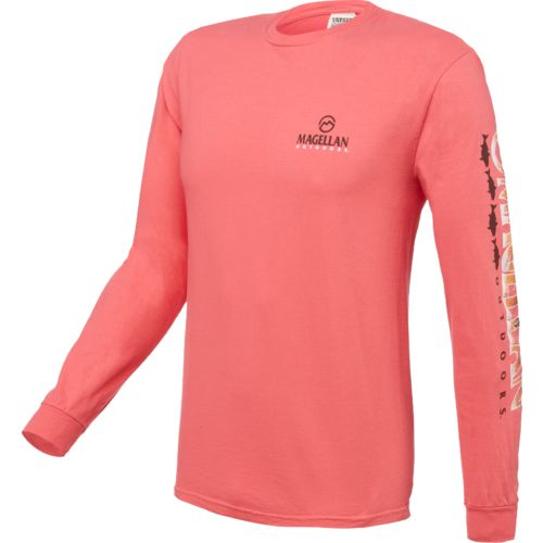 Magellan outdoors men 39 s red drum scales long sleeve t for Magellan long sleeve fishing shirts