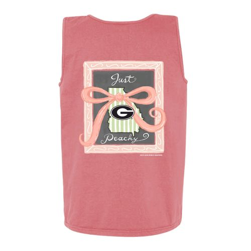 New World Graphics Women's University of Georgia Ribbon Chalk Tank Top