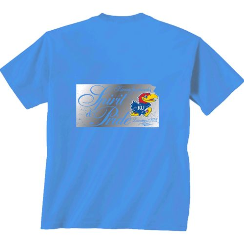 New World Graphics Women's University of Kansas Silver State Distress T-shirt