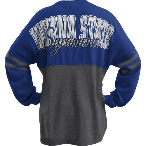 Three Squared Juniors' Indiana State University Varsity Script Logo Sweeper T-shirt