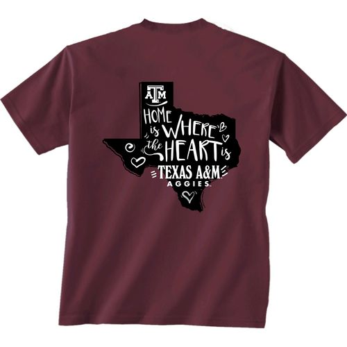 New World Graphics Girls' Texas A&M University Where the Heart Is Short Sleeve T-shirt