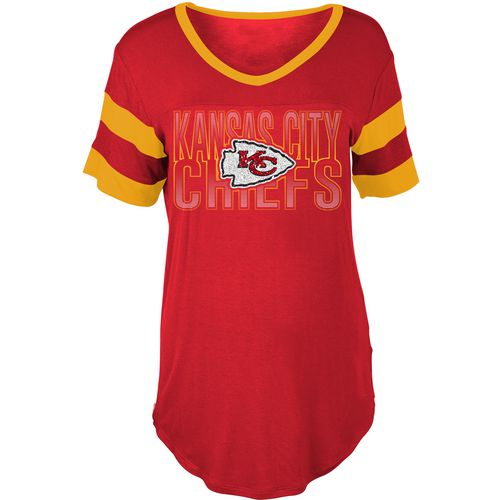 5th & Ocean Clothing Women's Kansas City Chiefs Sleeve Stripe Fan T-shirt