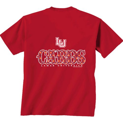 New World Graphics Women's Lamar University Comfort Color Initial Pattern T-shirt
