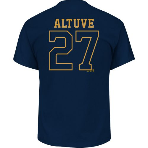Majestic Men's Houston Astros Jose Altuve 27 Gold Name and Number T-shirt