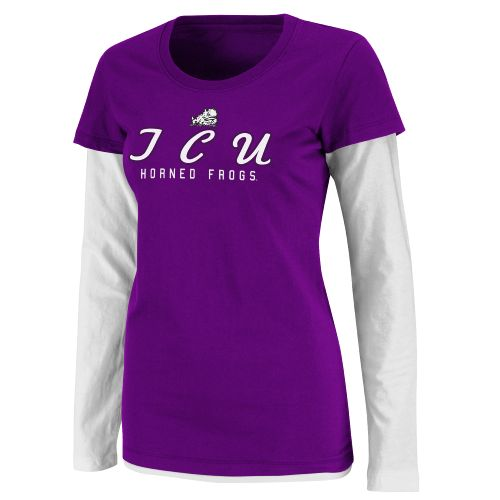 Colosseum Athletics Women's Texas Christian University Fiesta Double Layer T-shirt