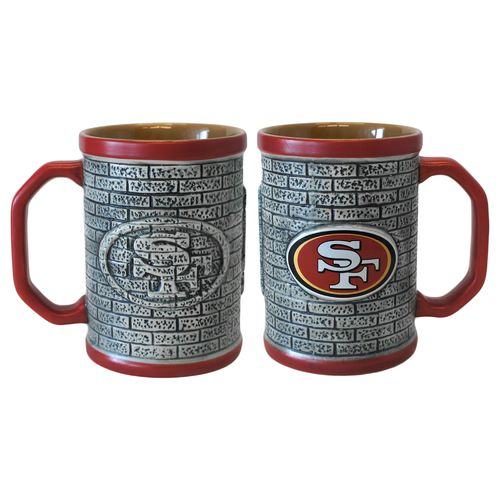 Boelter Brands San Francisco 49ers Stone Wall 15 oz. Coffee Mugs 2-Pack