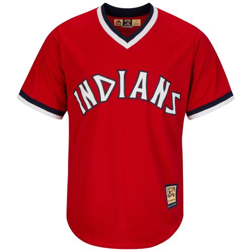 Nice Majestic Men's Cleveland Indians Cooperstown Cool Base 1975-76 Replica Jersey