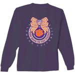 New World Graphics Women's Clemson University Ribbon Bow Long Sleeve T-shirt