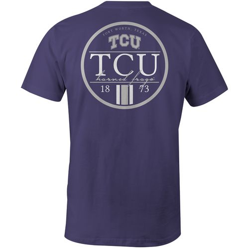 Image One Men's Texas Christian University Simple Circle Lines Comfort Color T-shirt