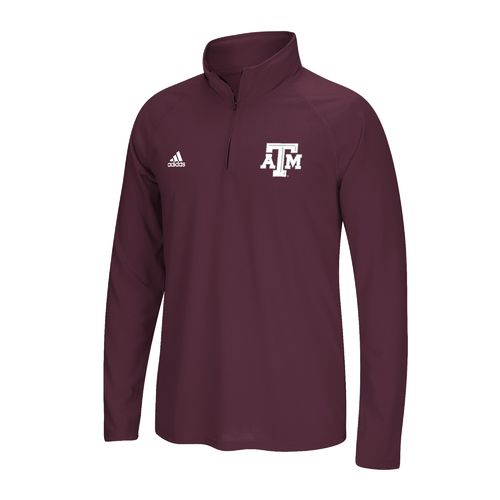 adidas Men's Texas A&M University Sideline Basic Logo 1/4 Zip Pullover