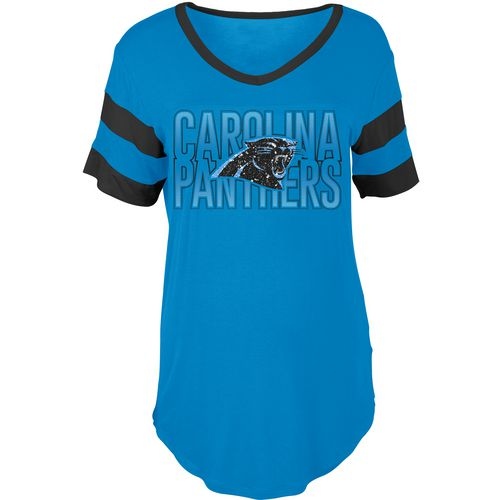 5th & Ocean Clothing Women's Carolina Panthers Sleeve Stripe Fan T-shirt