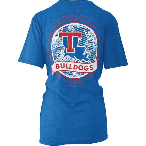 Three Squared Women's Louisiana Tech University Lace Emblem Melange T-shirt