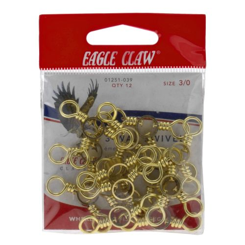 Eagle Claw 3-Way Swivels 12-Pack