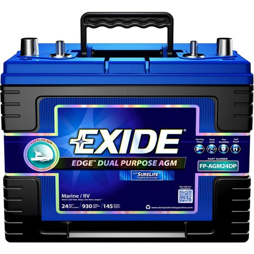 Exide Edge AGM Flat Plate Dual Purpose Marine Battery