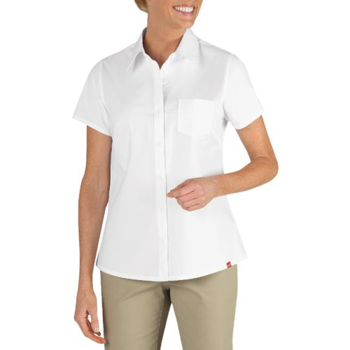 Dickies Women's Short Sleeve Stretch Poplin Shirt