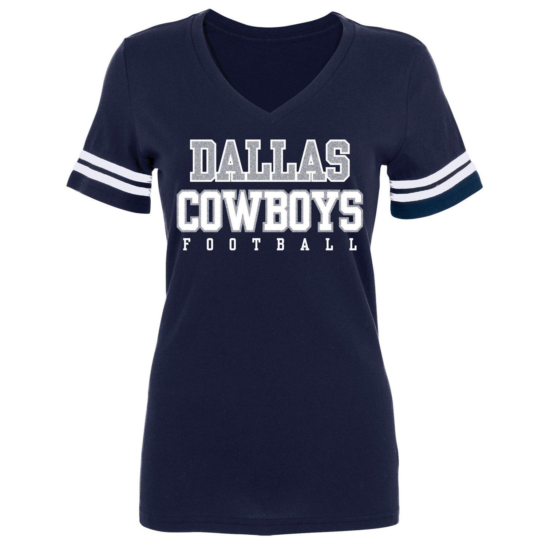 Dallas cowboys women 39 s practice glitter t shirt academy for Dallas cowboys fishing shirt