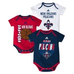 adidas™ Infants' New Orleans Pelicans 3 Point Spread Bodysuits 3-Pack