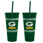 Boelter Brands Green Bay Packers 22 oz. Bling Straw Tumblers 2-Pack