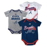 Majestic Infants' Atlanta Braves Three Strikes Bodysuit Set