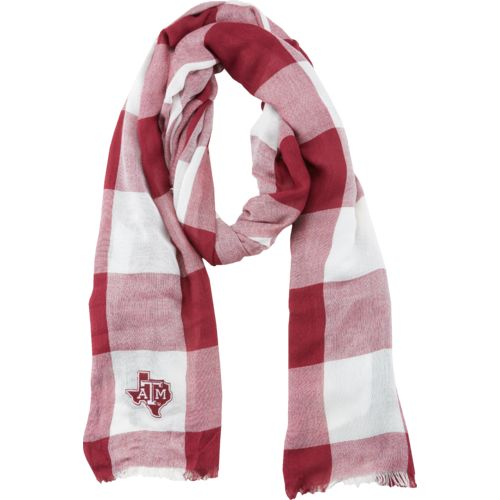 ZooZatz Women's Texas A&M University Buffalo Check Collegiate Scarf