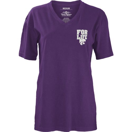 Three Squared Juniors' Kansas State University Team For Life Short Sleeve V-neck T-shirt - view number 2