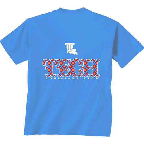 New World Graphics Women's Louisiana Tech University Comfort Color Initial Pattern T-shirt