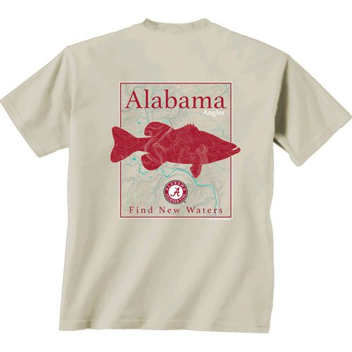 New World Graphics Men's University of Alabama Angler Topo Short Sleeve T-shirt