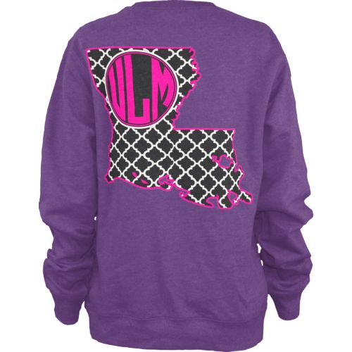 Three Squared Women's University of Louisiana at Monroe Quatrefoil Fleece Long Sleeve T-shirt