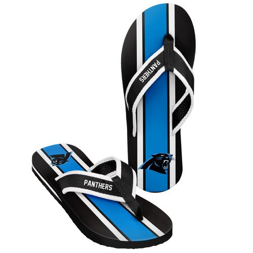 Forever Collectibles™ Men's Carolina Panthers 2016 Contour Stripe Flip-Flops