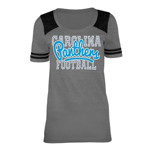 5th & Ocean Clothing Juniors' Carolina Panthers Script Fan T-shirt