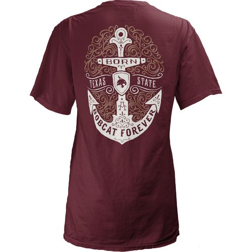 Three Squared Juniors' Texas State University Anchor Flourish V-neck T-shirt