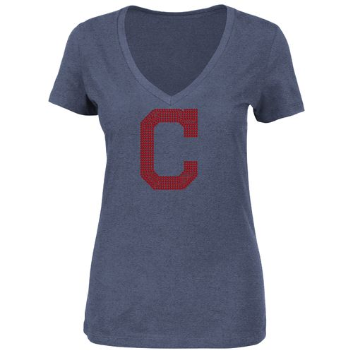 Majestic Women's Cleveland Indians Dream of Diamonds V-neck T-shirt