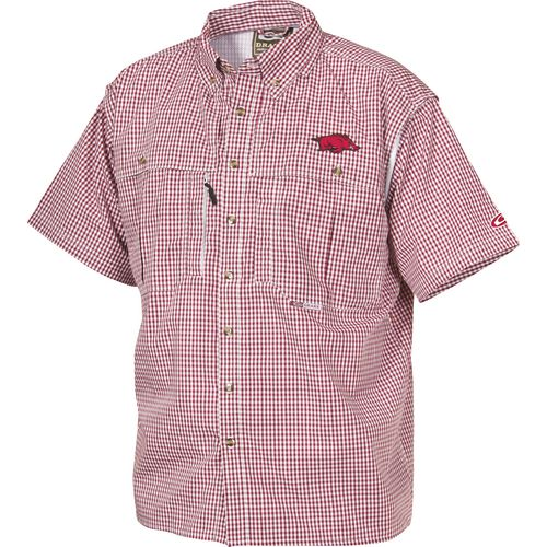 Drake Waterfowl Men's University of Arkansas Gameday Wingshooter's Short Sleeve Button-Down Shirt