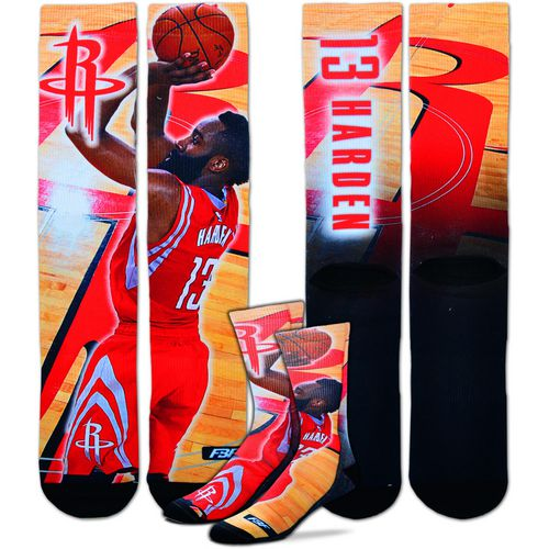 For Bare Feet Men's Houston Rockets James Harden Center Court Player Crew Socks