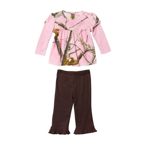 Game Winner® Infant Girls' Long Sleeve Baby Doll Mock T-shirt and Ruffle Pant Set