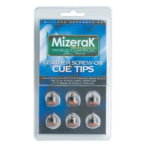 Mizerak™ Leather Screw-On Pool Cue Tips 6-Pack
