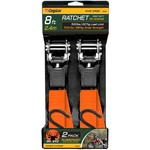 CargoLoc Hi-Viz 8' Heavy Duty Ratchet Tie Downs 2-Pack - view number 1