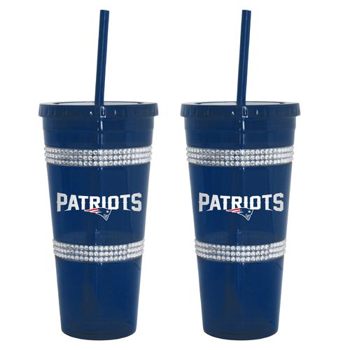 Boelter Brands New England Patriots 22 oz. Bling Straw Tumblers 2-Pack